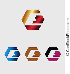 E letter icon with hexagons logo
