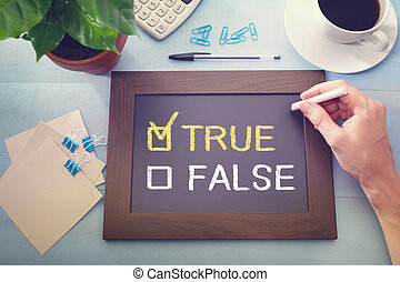 True or False checkboxes sketched on a little blackboard -...