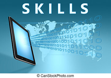 Skills illustration with tablet computer on blue background