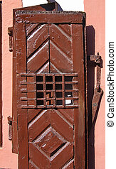 Brown door - Old brown rustic door in close up