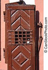 Brown door - Old brown rustic door in close up