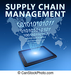 Supply Chain Management illustration with tablet computer on...