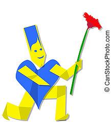 Heart man offering flower - blue heart man on kneels...