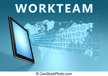Workteam illustration with tablet computer on blue...