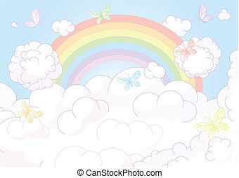Rainbow sky - Flying butterflies against the backdrop of the...