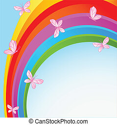 Rainbow sky with butterfly - Flying butterflies against the...