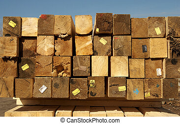 Wooden beams - Heap of beams for construction in market