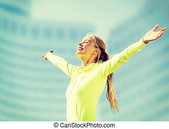 mulher, esportes, Ao ar livre