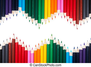 Many colored pencil triangle shape