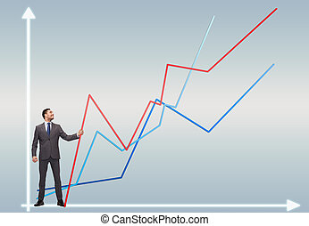 smiling man holding graph line - business, development and...