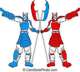 Two samurais - Creative design of two samurais
