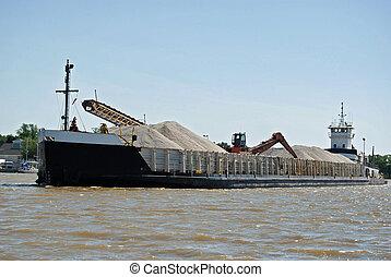 Large Barge - Large barge hauling gravel.