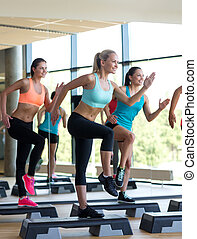group of women working out with steppers in gym - fitness,...