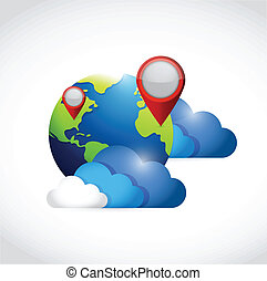 globe clouds and locator pointers illustration