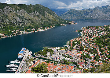 Top view on town Kotor and Bay of Kotor (Boka Kotorska),...