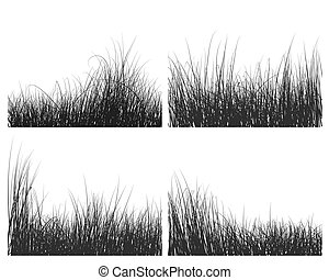 grass silhouettes set - Vector grass silhouettes backgrounds...