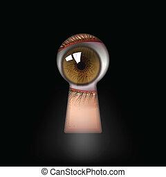 keyhole - open human eye in keyhole