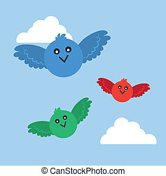 Birds Flying Colors - Birds in various colors flying through...