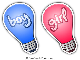 Sticker boy and girl - Creative design of sticker boy and...