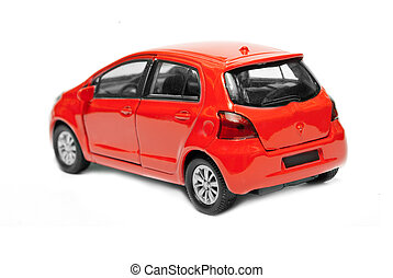 red car - model of red car is isolated on a white background