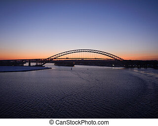 Bayonne bridge in the sunrise - Bayonne bridge and a...