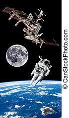 La terre, satellite, astronaute, espace