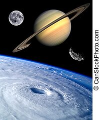 Earth Fantasy Planets Universe - Unusual asteroid Earth...