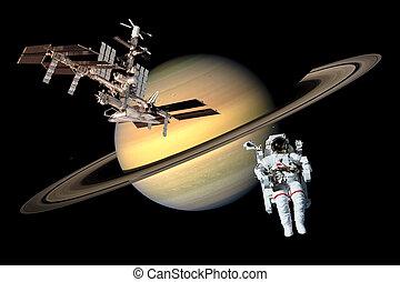 Space Astronaut Saturn Exploration - Space astronaut planet...
