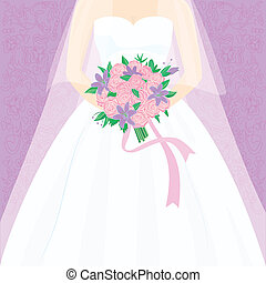 Bride with bouquet - Silhouette of a bride with a bouquet of...