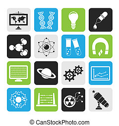 research and education Icons - Silhouette science, research...