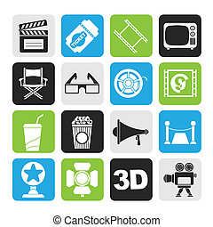 Cinema and Movie icons - Silhouette Cinema and Movie icons-...