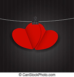 Valentines Day Paper Heart Backgroung, Vector Illustration.