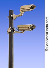 Security cameras on pole