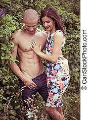 Young Sexy Couple Spending Quality Moments Outdoor