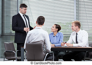 Boss speech during business meeting
