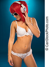 Sexy Lady in Red Hair Wearing Two-Piece - Sexy Lady in Color...