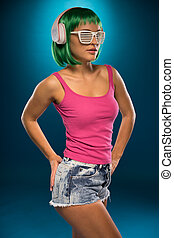 Slim Young Woman with Green Hair Portrait