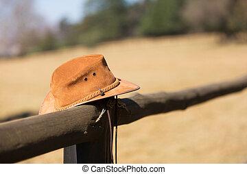 granja, sombrero, cerca, vaquero