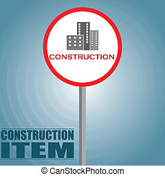 construcion items - a traffic signal with some buildings and...