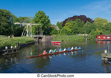 rowers in canal - rowers in a canoe in a typical dutch canal