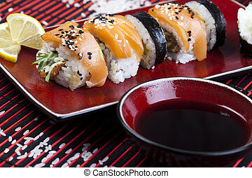 Traditional japanese food - Japanese sushi seafood rolls...