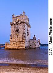 Torre of Belem, Lisbon, Portugal - Torre of Belem at night,...