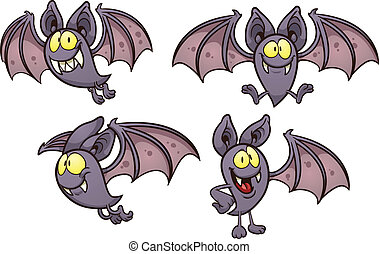 Cartoon bat in different poses Vector clip art illustration...
