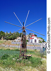 Old windmill in the Lassithi plateau, Crete