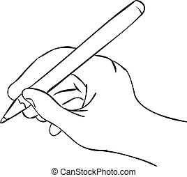Hand Holding Pen in Writing Position - Vector illustration...