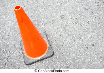 traffic cone on paved roads