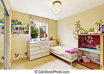 Kids room interior in soft ivory with carpet floor....