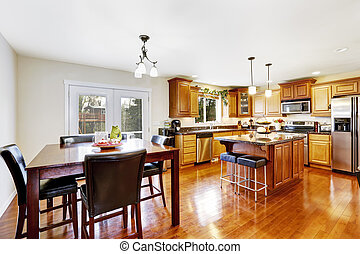 Kitchen room with dining table set - Bright kitchen room...