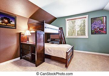 crianças, sala, sótão, cama