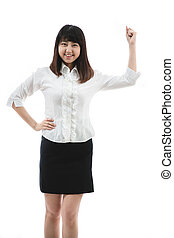 young woman Clenching Fist - Asian business woman - showing...